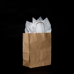 Petite Recycled Kraft paper shoppers FULL CASE OF 250 $92.50/pk (.37/ea)