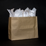 FASHION Recycled Kraft paper shoppers FULL CASE OF 250 $120.00/pk (.48/ea)  16X6X12