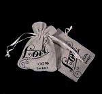 jute pouches with Love print (12/pk)