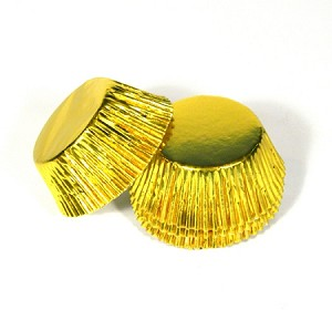 Standard size cupcake liners in Gold foil